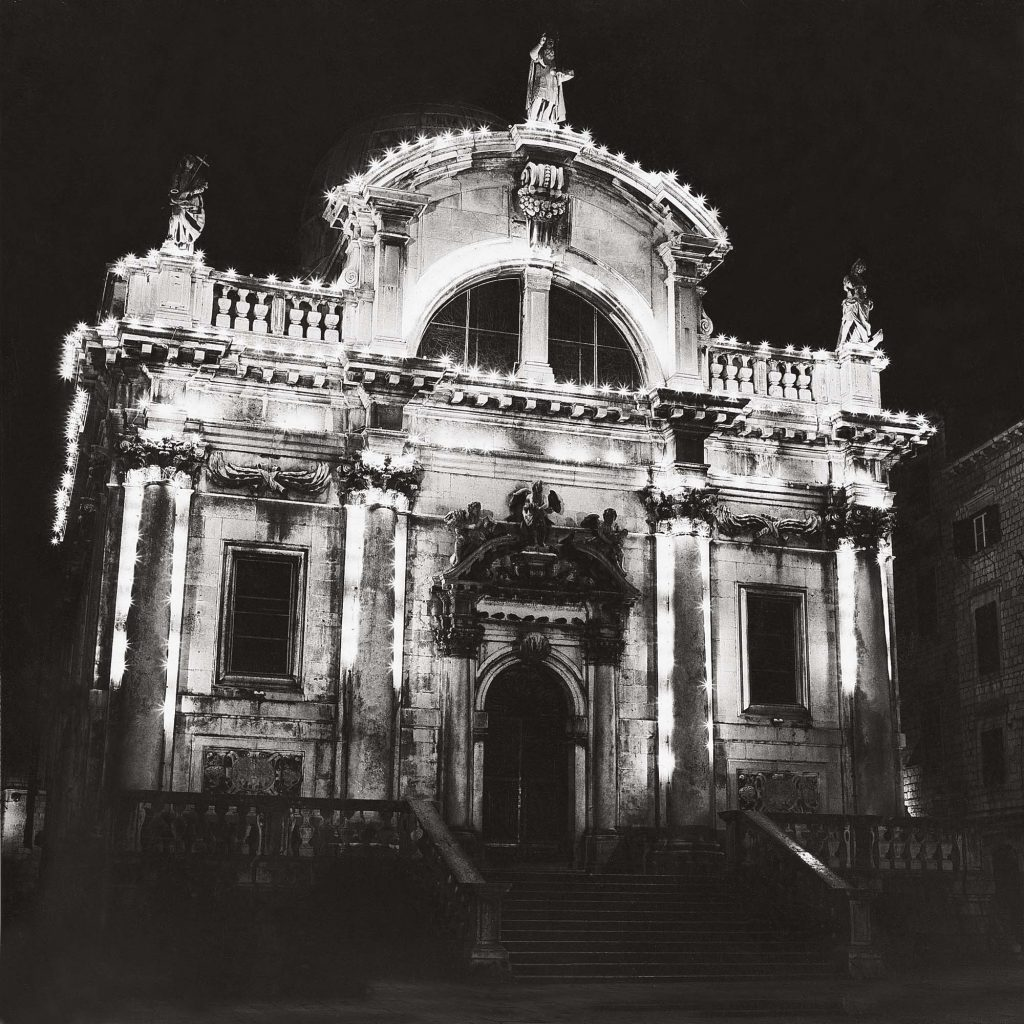 CHURCH OF ST BLASIUS, Christmas time, night, January 1990