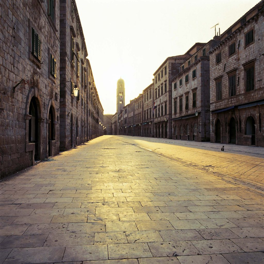 STRADUN – THE MAIN STREET, DUBROVNIK, JUNE 1992 A cat in empty Stradun, around 6 p.m., during the general alert period
