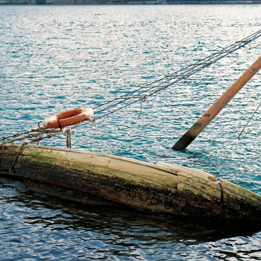 A SUNKEN SHIP, SUSTJEPAN NEAR DUBROVNIK, JUNE 1992